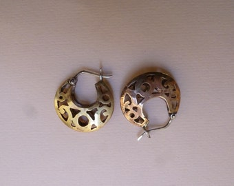 bronze hoop earrings with sterling silver catches