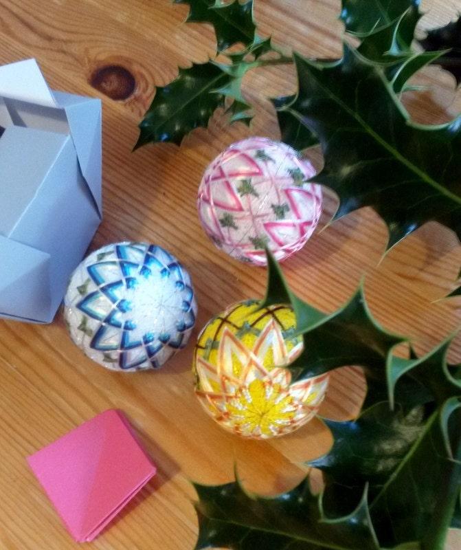 Japanese Christmas Ornaments 3 Pieces Set Mini Temari