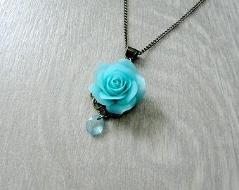 Mint rose necklace, mint jewelry, flower necklace, clay rose, handmade rose, handmade jewelry, mint flower, beautiful jewelry, gift idea
