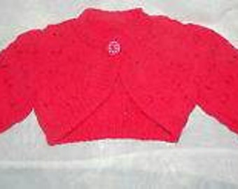 Girls bolero can be knitted to order in 0-3mths to 5-6yrs
