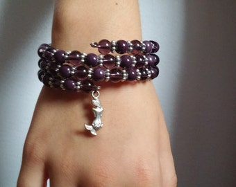 Bracelet/fillette.perles of glass and beads procemaine/violet/purple/amethyst/Eggplant/charm Mermaid/memory wire