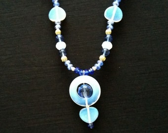 Blue Opalescent Beaded Necklace