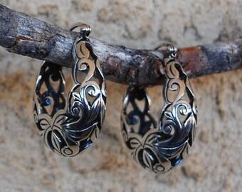 Sterling Silver Filigree Hinged Hoop Earrings