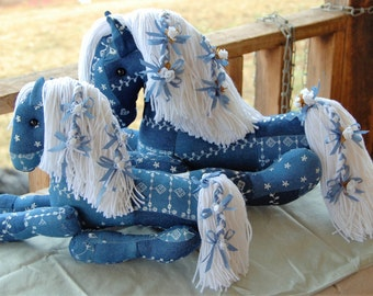 One of a Kind Stuffed Horse Pair - Blue