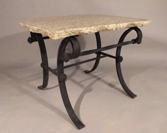 White Natural Edge Granite End Table,granite table,end table,indoor/outdoor table,handmade table,coffee table,sofa table,patio,living room
