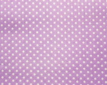 Polka dot Fabric, Polkadot Fabric, Cotton Fabric,Light Purple, Small Dots, Basic Essential, Quilting Sewing Supplies, Wide, Half Metre
