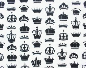 Crown Cotton Fabric / Monochrome Black White/ Bandana Blanket Bib Burpcloth Quilt Clothing Sewing Crafting Decor/ Half Metre