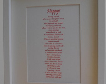 Happy - Framed Poetic Print