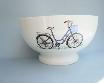 Bowl with a blue bike and his basket, customizable