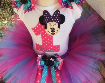 Minnie Mouse Birthday Party Tutu Outfit Dress Set Handmade