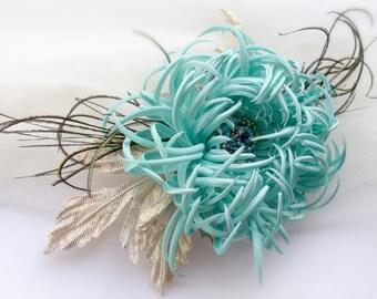 Chrysanthemum fabric, chrysanthemum handmade flower, hair clip, flower fantasy,mint color,Style 50s