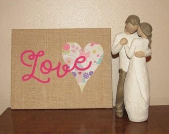 Love 8x10 burlap panel