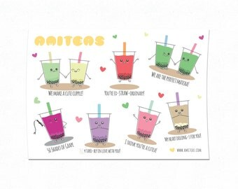Amiteas A6 Sticker Sheet | Bubble Tea Stickers, Boba Tea Stickers, Punny Stickers, Cute Stickers, Kawaii Stickers, Planner Stickers