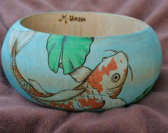 Mother's day gift, unique koi and lilly bangle, boho jewelry, woodburned bangle, koi fish art on wooden bangle, MaryUnsonStudios
