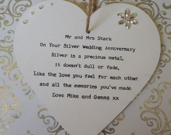 Silver Wedding Anniversary Gift Personalised handcrafted heart Plaque