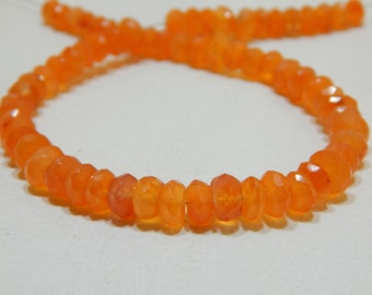 Gemstone Carnelian Faceted Beads Rondell Shape 6x7 mm Approx
