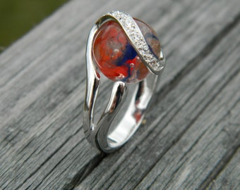 Interchangeable ring with handmade 12mm glass marble
