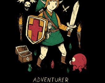 Adventurer zelda T-shirt / link shirt / the legend of zelda tee / ocarina of time, majoras mask, windwaker/ nes nintendo switch/retro gaming