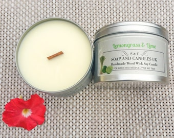 Large Handmade, Wood Wick Soy Candle - Lemongrass and Lime - Home, Gift