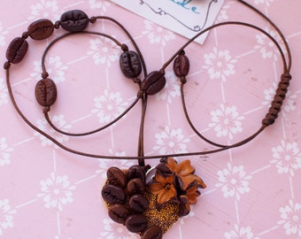 Coffee beans necklace Heart with coffee and pretty flowers Coffee Lovers Waxed cord with coffee beans