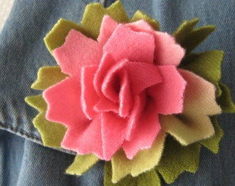 Hand Dyed Pink and Green Wool Flower Pin