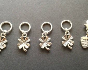 4 Four Leaf Clover Stitch markers with free progress keeper