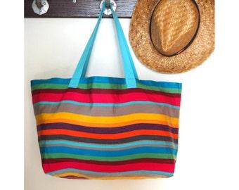DESTOCKING - XXL beach bag / tote bag / transat canvas shopping bag lined multicolor multicolor/bag / large beach bag