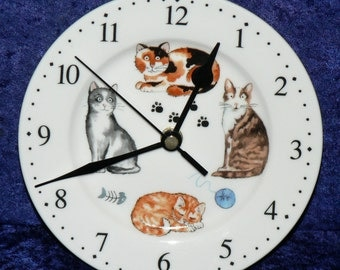 Cats & kittens wall clock porcelain wall clock with different cats gift boxed