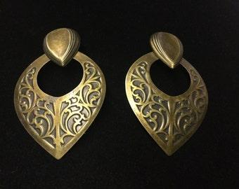 Vintage Pierced Earrings, Goldtone, Dangle