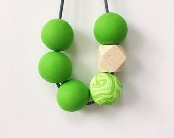 Green Statement Bead Necklace, Geometric Necklace, Minimalist Necklace, Polymer Clay, Chunky Necklace, Boho Necklace, Festival Jewellery