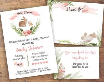 Custom Pink Bunny Floral Baby Shower Invitation Suite- Invitation Card, Thank You, Registry Cards- Printable Digital File