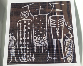 "5.5"" Square Print ""Woodgrain Coso Figures"""