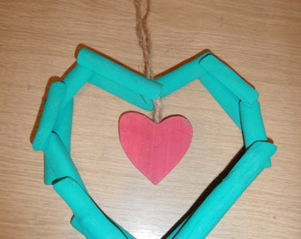 Funky Shabby Chic hanging heart
