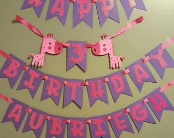 Giraffe themed birthday banner, safari birthday banner