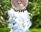 Large white dream catcher with doily center, White doily dream catcher, Wall hanging dream catcher, Large doily dream catcher, Home decor