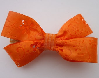 Orange double hair bow
