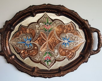 Turkish Etched Metal Hand Painted Tray