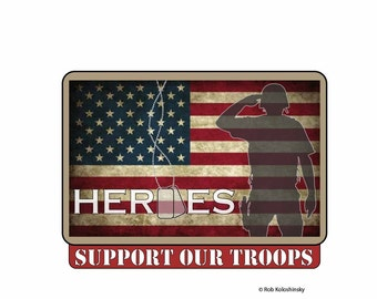 3x4 Vinyl Support Our Troops Decal