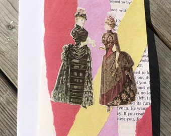 Victorian Ladies Collage Pink Yellow Type Text Greetings Card Birthday Card Thank You Card