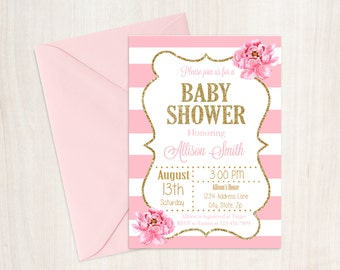 Baby Shower Invitation, Pink and Gold Baby Shower Invitation, Girl Baby Shower, Baby Girl Shower Invitation, Printable