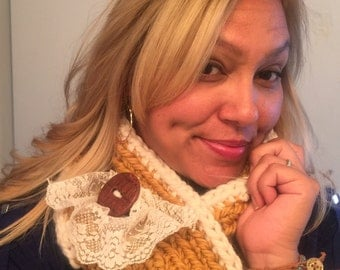Gold, yellow and cream, lacey, Chunky,Infinity,Scarf, crochet,with button, with removable lace pin