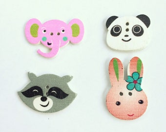 Animals Assorted Button Lot - Flat Back Buttons - Scrapbooking Buttons, Embellishment, Notions, Craft Supplies - Shankless Woodland Button