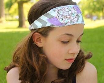 Flower Headband Purple Shabby Hair Band Girls Flower Head Wrap Thin Hair Band (#6007)