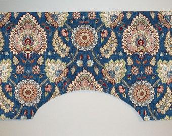 Waverly Clifton Hall Linen Gem Blue Custom Valance Curtain, Deep Blue Paisley Floral, Lined