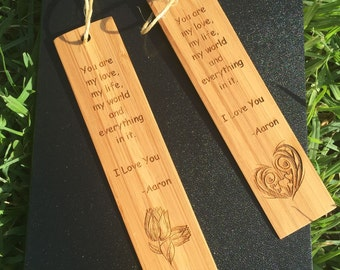 2 Pcs Personalised Bookmarks made from Bamboo Slip