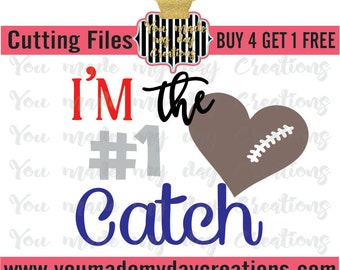 Buy 4 get 1 FREE***  I'm the #1 Catch Football number  SVG, EPS, png, & dxf Cutting Files Stitches Brown