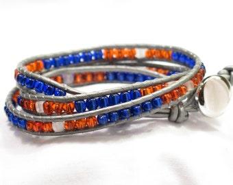 "Leather Wrap Bracelet - Orange, Blue Beads, Grey Leather 7"" 3 Layers - GO BRONCOS made in Colorado"