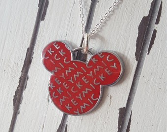 Adorable Red Disney Mickey Mouse Necklace on 925 Sterling Silver Chain. White and Pink available too