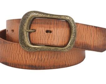 "Snap On 1 1/2"" Soft Hand Genuine Vintage Cowhide Full Grain Leather Casual Belt(100892)"
