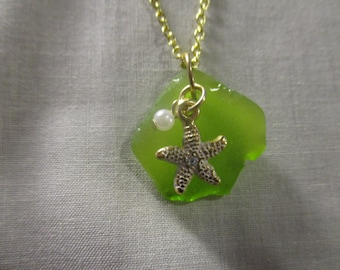 Absolutely Adorable Green Beach Glass with Gold Starfish!